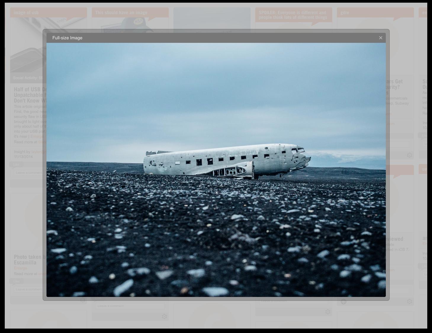 enlarged images on platform